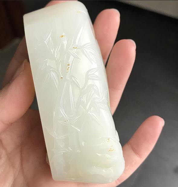 新疆和田黄皮羊脂白玉籽玉 竹报平安