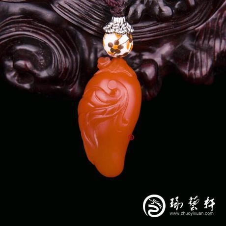 【琢艺轩】四川凉山南红玛瑙樱桃红挂件   红火   6克