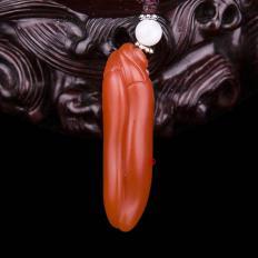 四川凉山南红玛瑙柿子红挂件    双娇   7.6克