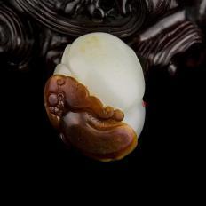 新疆和田玉红沁白玉籽玉挂件 有福同享(独籽) 17克