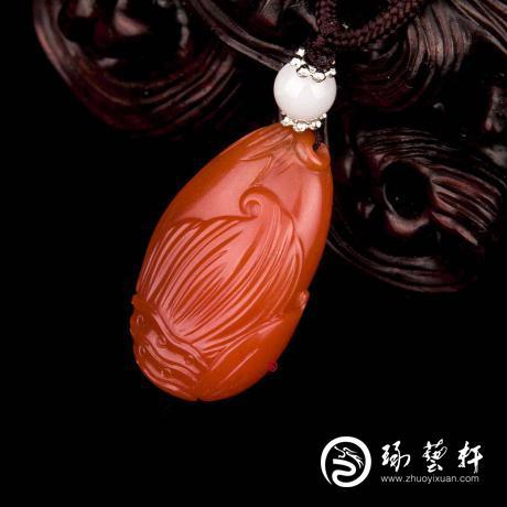 【琢艺轩】四川凉山南红玛瑙樱桃红挂件  节节高 6克
