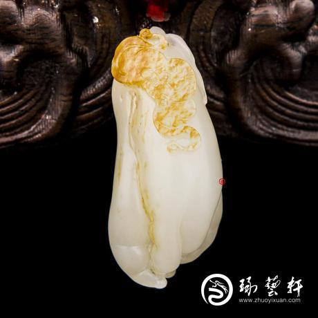 【琢艺轩】新疆和田玉红皮白玉籽玉挂件 福寿 13克