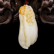新疆和田玉红皮白玉籽玉挂件 福寿 13克