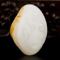 新疆和田玉红皮羊脂白玉籽玉把件 龙凤齐鸣 62克