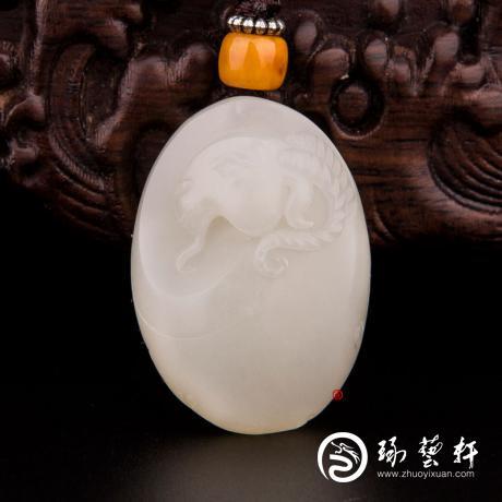 【琢艺轩】新疆和田玉洒金皮白玉籽玉挂件 样样如意 25克