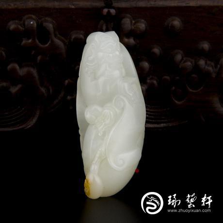 【琢艺轩】新疆和田玉黄皮白玉籽玉挂件 财神 26.9克