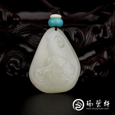 【琢艺轩】新疆和田玉黄皮一级白玉籽玉挂件 十二生肖-牛 16.2克
