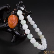 四川凉山南红玛瑙柿子红翡翠手链 灵猴 28.1克