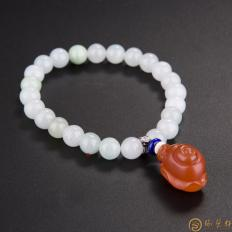四川凉山南红玛瑙樱桃红翡翠手链 蜗牛 25.8克