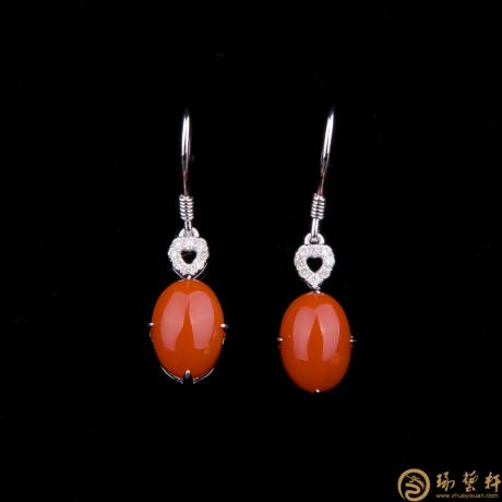 【琢艺轩】南红玛瑙18K白金镶嵌女士耳坠 金1.98