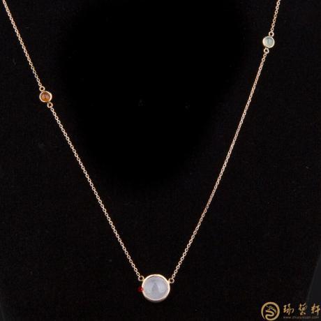 【琢艺轩】天然A货冰种翡翠锁骨链18k金  2.2克
