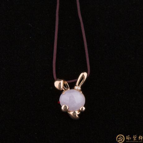 【琢艺轩】天然A货紫罗兰翡翠吊坠 吉祥兔 3克