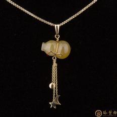 天然A货黄翡吊坠18k金 黄翡葫芦 2.4克