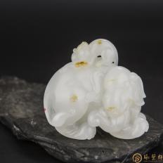金健 新疆和田玉红皮羊脂白玉籽玉把件 封侯拜相 87.5克