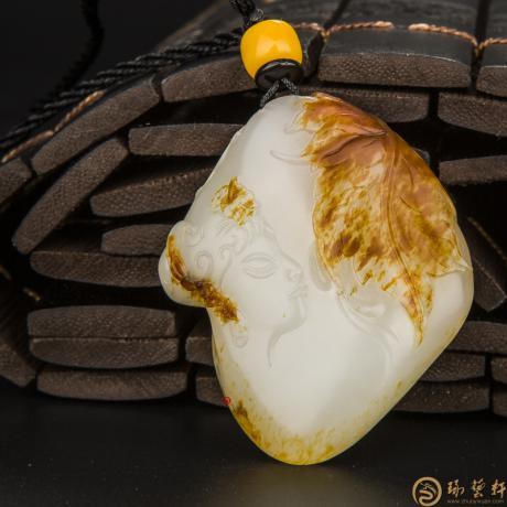 【琢艺轩】穆宇静 新疆和田玉红皮羊脂白籽玉挂件 枫丹寄情 34.5克