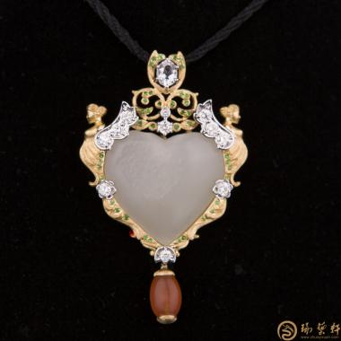 新疆和田籽玉金镶玉挂件 天使之恋 17.6克