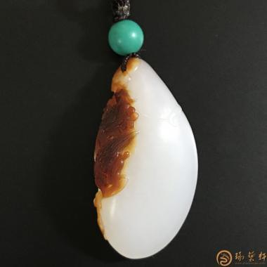 新疆和田枣红皮羊脂白玉籽玉挂件 双喜临门 9.2克