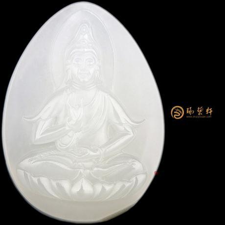 【琢艺轩】新疆和田白皮一级白籽玉挂件 观音 25.5克