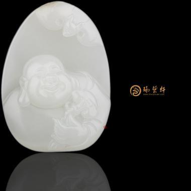 新疆和田白皮白玉籽玉挂件 弥勒佛 26.6克
