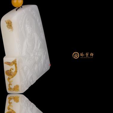 大日如来_ 新疆和田秋梨皮羊脂白籽玉牌子  -穆宇静玉雕工作室