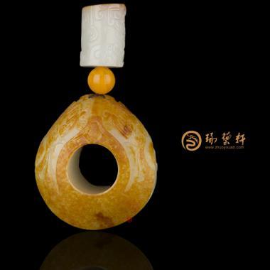 穆宇静 新疆和田红皮白玉籽玉扳指 大权在握 133.6克