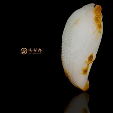 新疆和田红沁皮羊脂白挂件 岁岁平安 47.3克