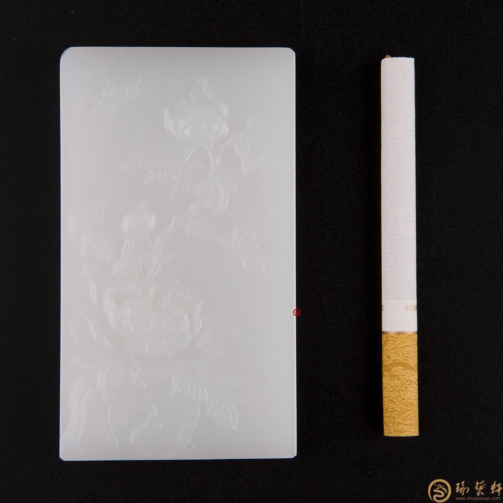 花开富贵_ 新疆和田白皮羊脂白籽玉牌  -穆宇静玉雕工作室