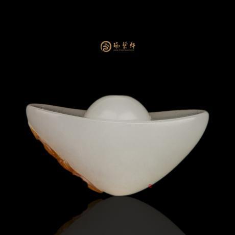 【琢艺轩】新疆和田红皮羊脂白玉籽玉挂件 财福双至 9.2克