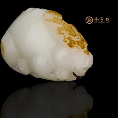 新疆和田红皮羊脂白籽玉把件 鸿运当头 87.8克