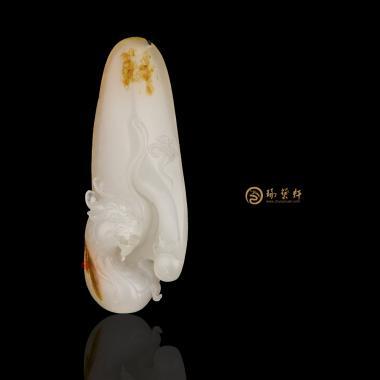 新疆和田红皮一级白籽玉挂件 祥龙 10克(独籽)