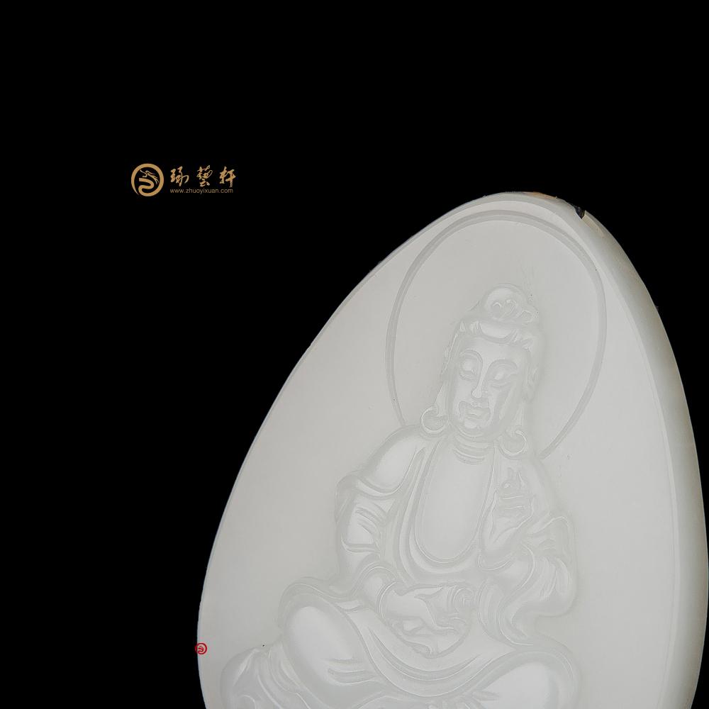 观音_ 新疆和田白皮白玉籽玉牌子  37克-穆宇静玉雕工作室