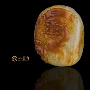 新疆和田玉红沁白玉籽挂件 财神 23克(客户代卖)