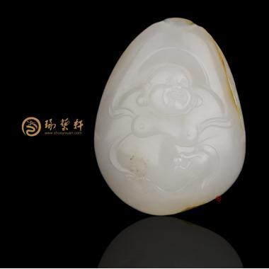 新疆和田洒金皮白玉籽玉挂件 佛引福来 16.6克(独籽)