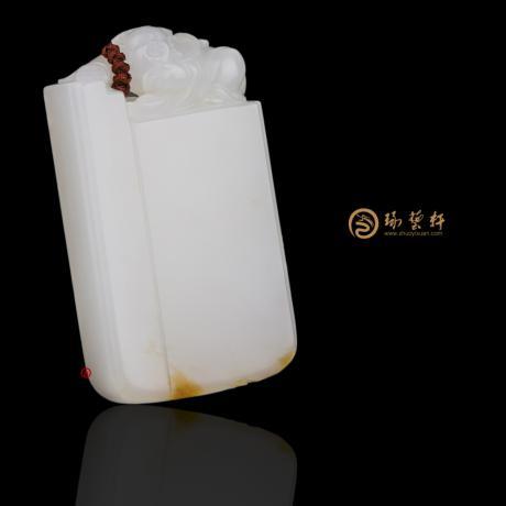 【琢艺轩】新疆和田黄皮一级白籽玉牌子 守护 40.8克