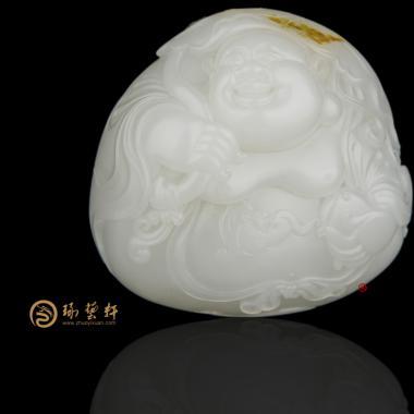 穆宇静 新疆和田黄皮羊脂白籽玉把件 弥勒佛(独籽) 184.2克