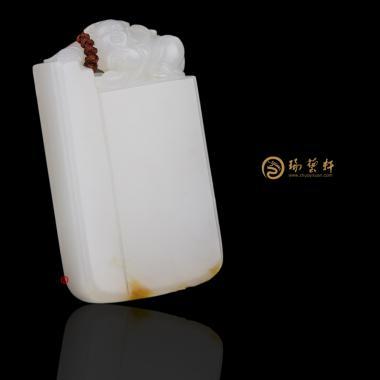 新疆和田黄皮一级白籽玉牌子 守护 40.8克