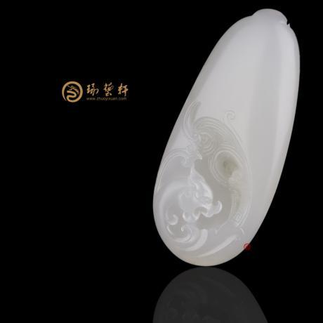 【琢艺轩】新疆和田洒金皮羊脂白籽玉挂件 祥龙纳福 32克