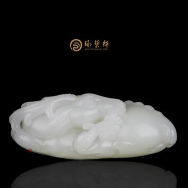 黄杨洪 新疆和田一级白籽玉把件 鹤鹿同春 111.6克